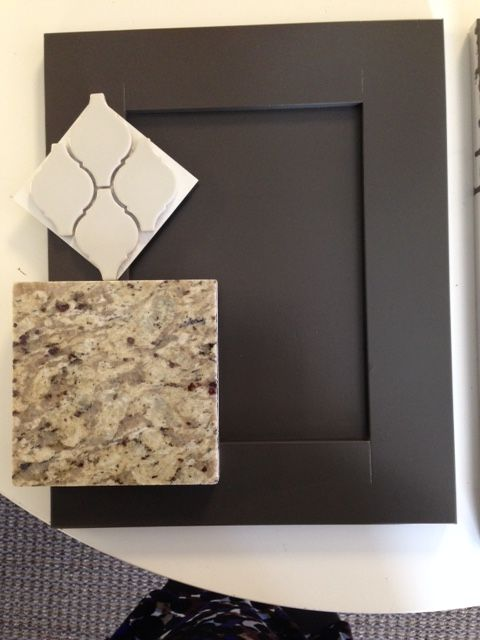 "New Venetian Gold granite, grey backsplash, Behr ""Peppery"" painted cabinet"
