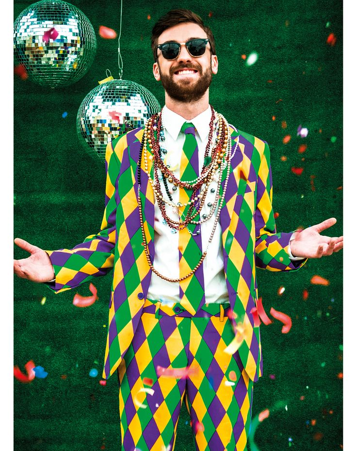 Mardi Gras Mens Party Suit at www.SpiritHalloween.com - Collecting beads is overrated, instead show your passion for Mardi Gras in the Mardi Gras Men's Party Suit! Whether you make the trek to New Orleans or you're just hosting a really awesome party this slim fit style suit and tie combo is always a crowd pleaser. Get yours for $99.99