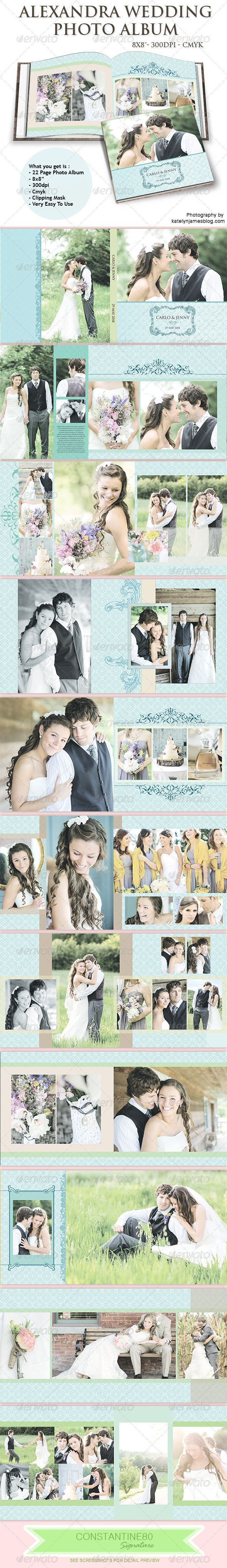 """Alexandra Wedding Photo Album  #GraphicRiver                What you get is :   Photo Album 8""""x8"""" Color mode: CMYK Resolution: 300 DPI Total Dimensions: 4838×2438px   Total is 11 items  —-—-—-—-—-—-—-—-—-—-—-—-—-—-—-—-—-—-—-—-—-- Fonts used: Trajan Pro  .myfonts /fonts/adobe/trajan/ PLEASE DON 'T FORGET TO RATE THIS FILE             Created: 2August13 GraphicsFilesIncluded: PhotoshopPSD Layered: Yes MinimumAdobeCSVersion:"""