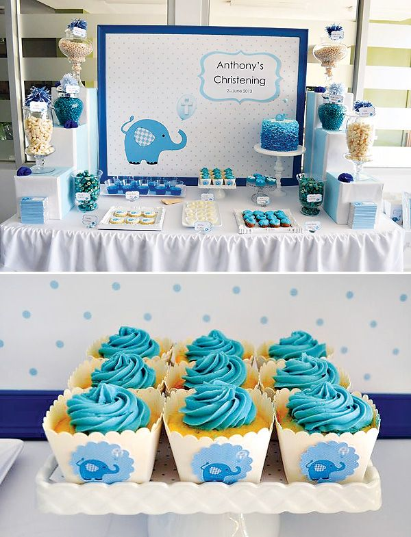 Cute Blue Elephant Dessert Table {Boys Christening} or {Baby Shower}