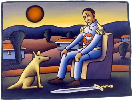 """""""Self portrait in full-dress uniform with dog with dog and sword."""" - Reg Mombassa"""