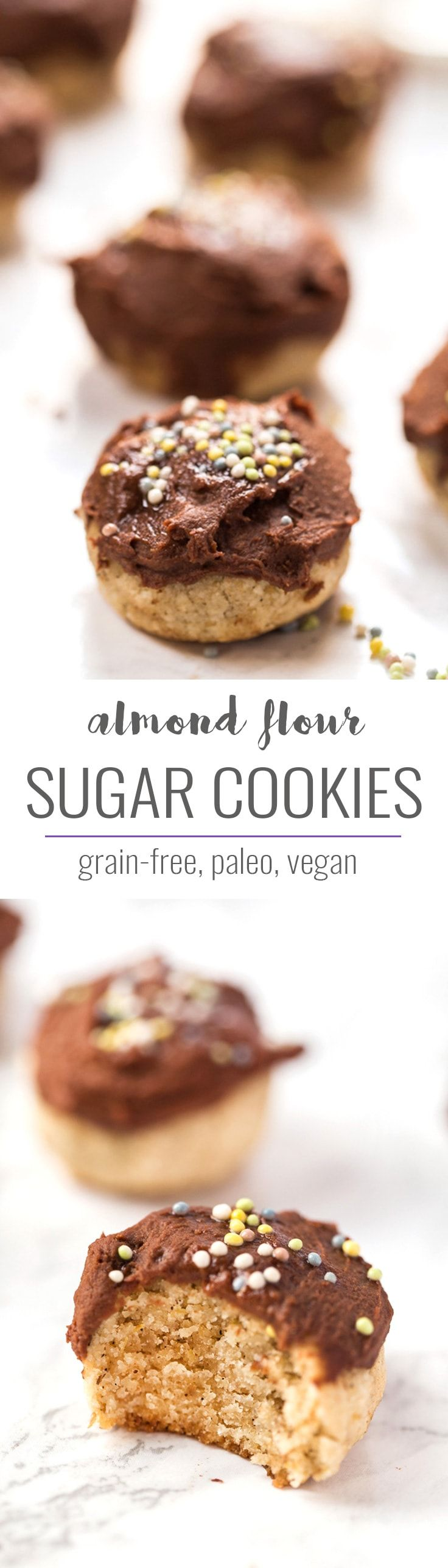These CHEWY & HEALTHY almond flour sugar cookies are a healthy sweet treat. They're grain-free, paleo, vegan and are even topped with a healthy chocolate frosting!