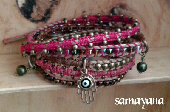 Brazalete Varanasi 5 vueltas color rosa Dije con baño por Samayana