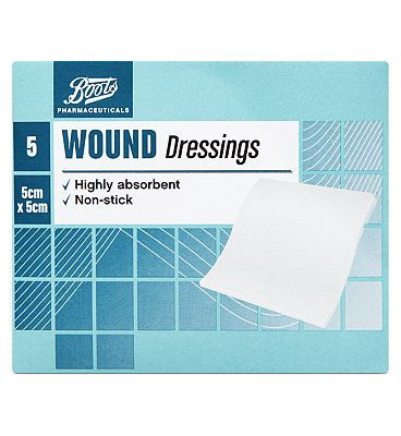 #Boots Pharmaceuticals Boots Wound Dressing Pads (5cm x 5cm)- Pack of 5 #8 Advantage card points. Boots Wound Dressing Pads are highly absorbant and they have a low adherent surface which means they do not stick to wounds. Always read the product information before use. FREE Delivery on orders over 45 GBP. (Barcode EAN=5045092393291)
