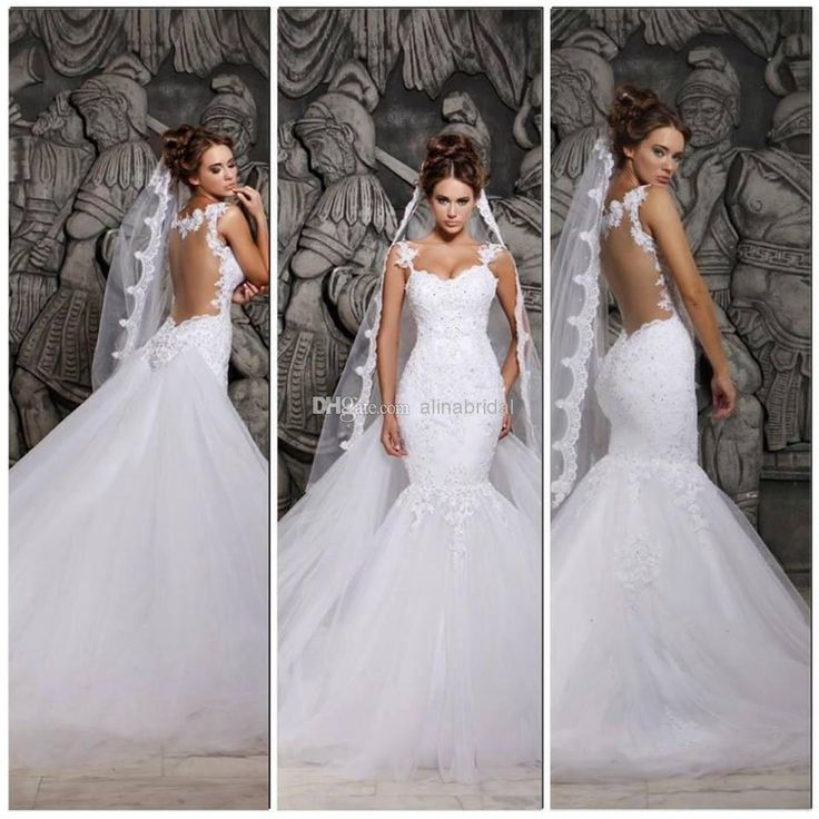 Wholesale Mermaid Wedding Dresses - Buy New 2014 Backless Wedding Dresses Scoop Mermaid Detachable Chapel Train Beaded Lace So Elegant Bridal Gowns Hassan Mazeh W-272, $189.87 | DHgate