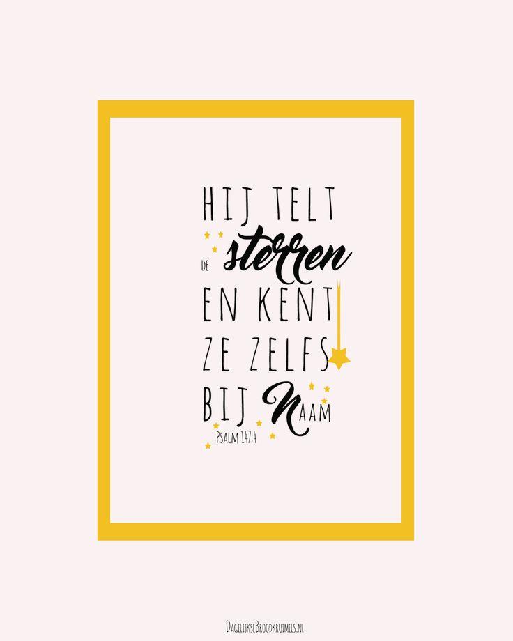 Hij telt de sterren en kent ze zelf bij naam. Psalm 147:4 #God, #Naam https://www.dagelijksebroodkruimels.nl/psalm-147-4/