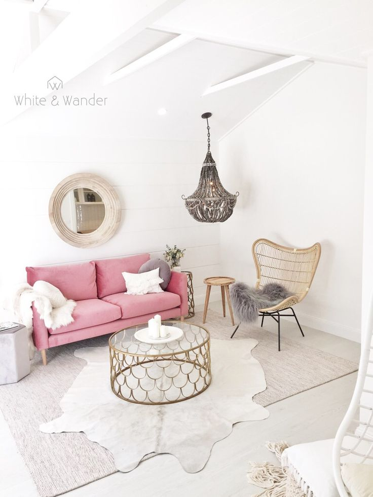 Bright and colourful pink living from threebirdsrenovations