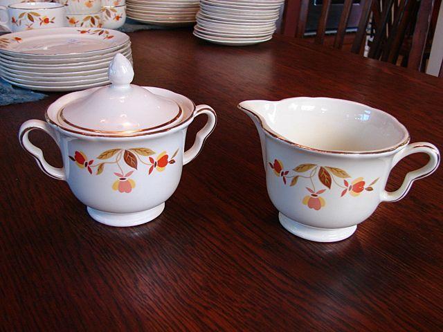 Hallu0027s China Jewel Tea Autumn Leaf Lidded Sugar Bowl With Creamer Free  Shipping