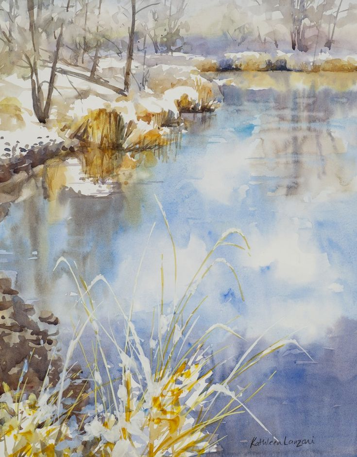 """Reflecting on February 14 """" x 22"""" original watercolor - giclee available"""