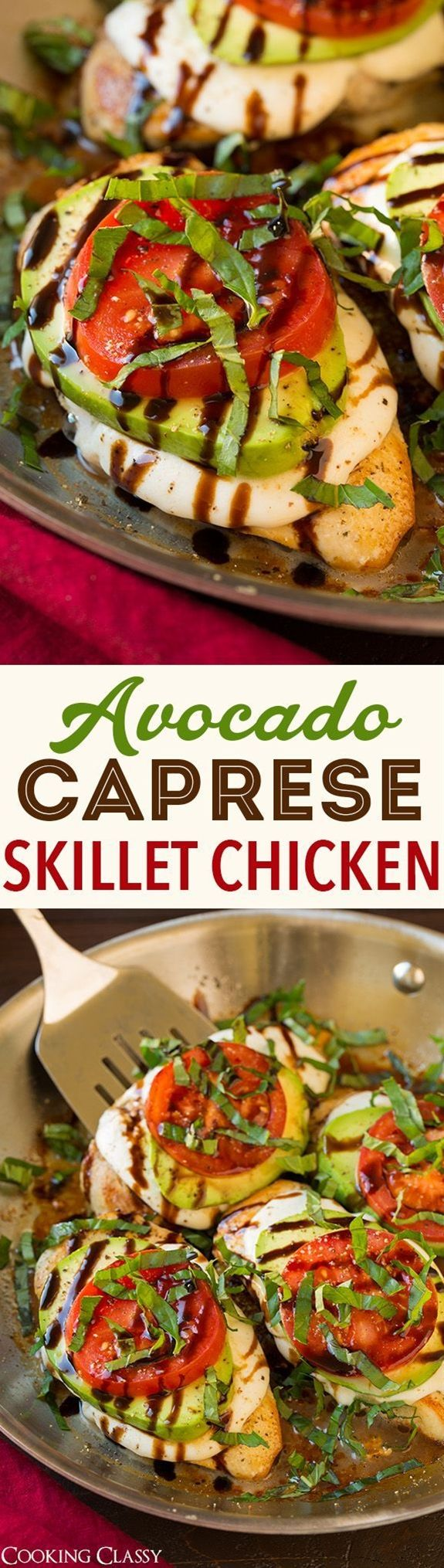 Avocado Caprese Skillet Chicken - SO GOOD!!! Ready under 25 minutes! Definitely adding this to the dinner rotation!\n\n Ingredients\n\n  2 (10 - 11 oz each) boneless skinless chicken breasts, butterflied and halved\n 1/2 tsp garlic powder\n 1/2 tsp onion powder\n 1/2 tsp Italian seasoning\n Salt and freshly ground black pepper\n 2 Tbsp olive oil\n 6 oz fresh mozzarella, cut into 8 slices\n 4 avocado slices (from a firm but ripe large avocado)\n 2 medium vine ripened tomatoes, sliced\n 3 Tbsp…