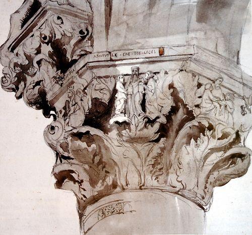 John Ruskin, Capital 36 of the Ducal Palace, Venice, 1849-1852. Pencil and wash, 22.3 x 23.5 cm.