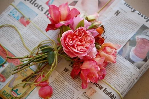 Old fashioned bouquet of roses
