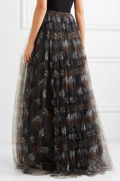 e931aec47 Brunello Cucinelli | Pleated printed tulle maxi skirt | NET-A-PORTER.COM