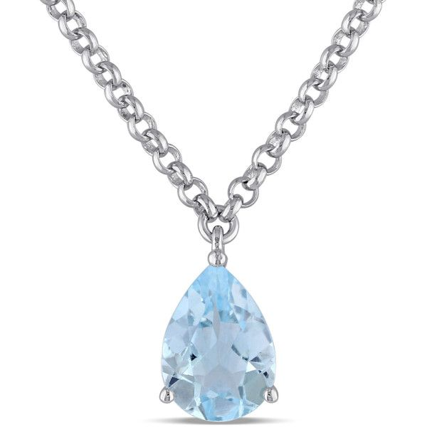 Amour 2 1/4 Ct Tgw Blue Topaz - Sky Necklace With Chain Silver Length... ($94) ❤ liked on Polyvore featuring jewelry, necklaces, no color, blue topaz pendant necklace, blue topaz necklace, chain pendants, pendant necklace and silver jewelry