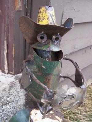 Metal Yard Art Ideas Cowboy Rustic Metal Sculpture Art