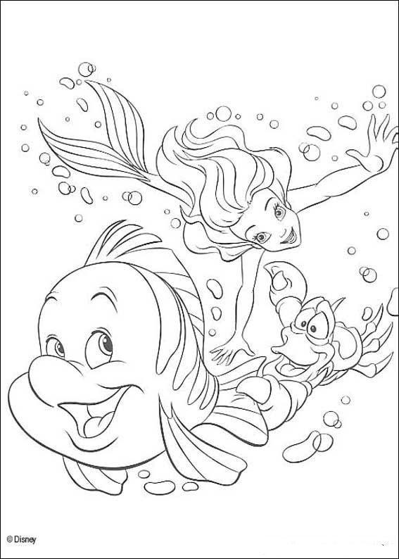 kleurplaat De kleine zeemeermin - Sebastiaan, Ariel en Botje