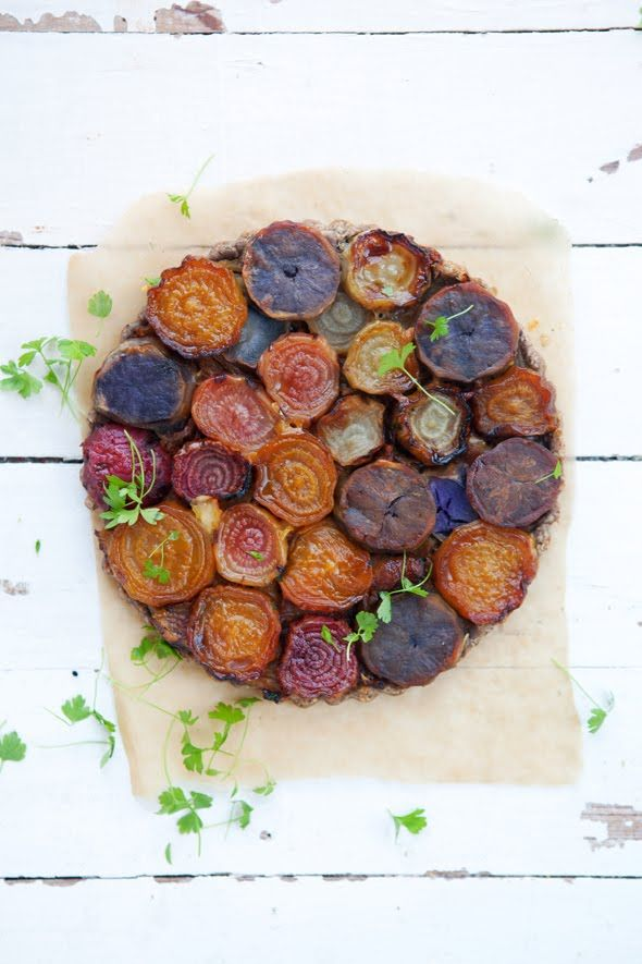 Roasted Beet and Purple Potato Tarte Tatin with Caramelized Fennel and Gruyere Cheese