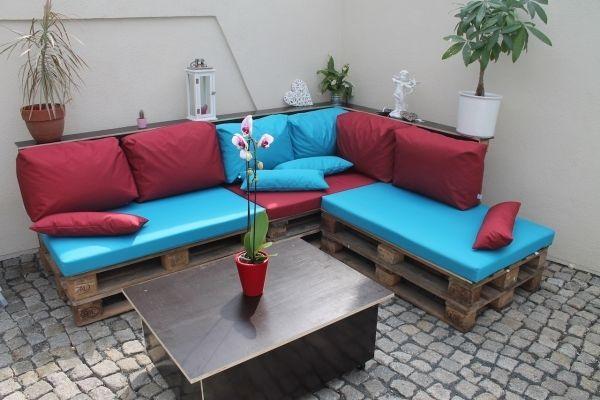 details zu 1 auflagen 2 kissen f r palettenm bel f r den wohnbereich innen kpl satz. Black Bedroom Furniture Sets. Home Design Ideas