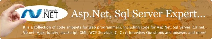 Please like and share http://www.webcodeexpert.com/ It is a collection of code snippets for web programmers, including code for Asp.Net, Sql Server, C#.Net, VB.Net, Ajax,LINQ, Jquery, JavaScript, XML, WCF Services,Web Services, C, C++, Interview Questions and answers and more..
