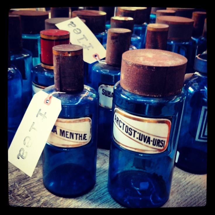 antique pharmacy bottles.