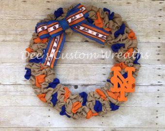 Burlap wreath mets wreath baseball wreath mets baseball