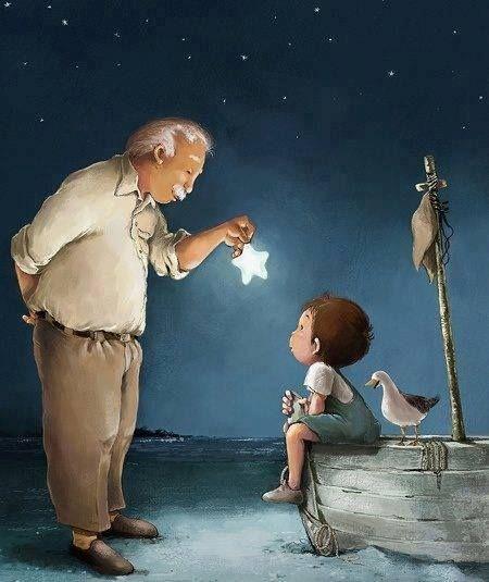 Όποιος αγαπάει ένα πουλί, ένα άστρο, ένα παιδί, αυτός πάντα του βλέπει όμορφα όνειρα κι ο κόσμος γίνεται όμορφος ως πέρα απ' τον ύπνο του, ως πίσω απ' τα κλεισμένα μάτια του, ως μέσα στο πιο άγνωστο χαμόγελό του.  ΓΙΑΝΝΗΣ ΡΙΤΣΟΣ «Ο ΓΕΡΟΝΤΑΣ ΜΕ ΤΟΥΣ ΧΑΡΤΑΪΤΟΥΣ»~