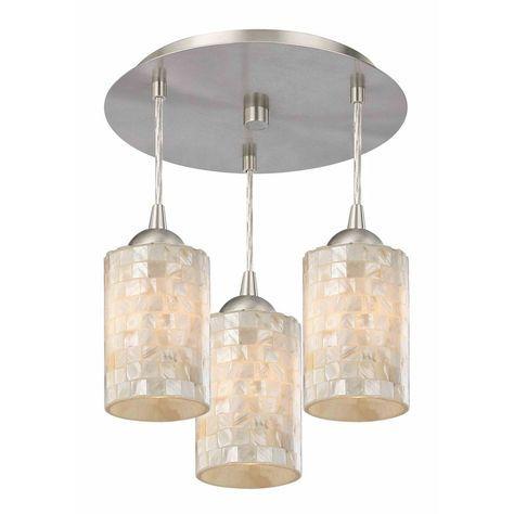 Design Classics Lighting 3-Light Semi-Flush Ceiling Light with Mosaic Glass - Nickel Finish 579-09 GL1026C
