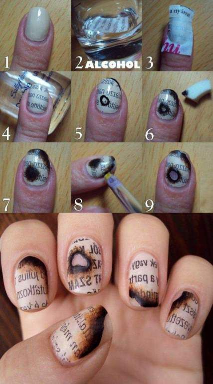 Surprise your friends with this unique burnt newspaper nail design. #newspapernails #nailart