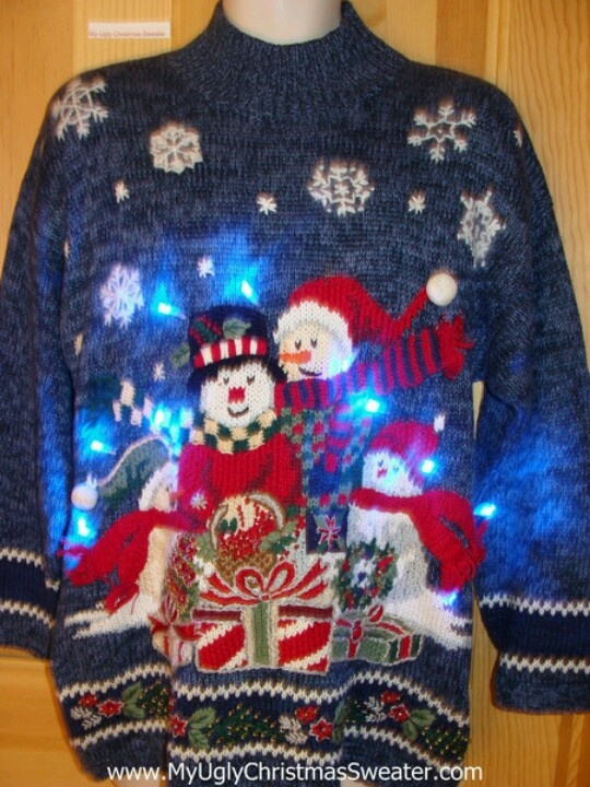 light up ugly christmas sweater festive snowmen - Lighted Christmas Sweaters