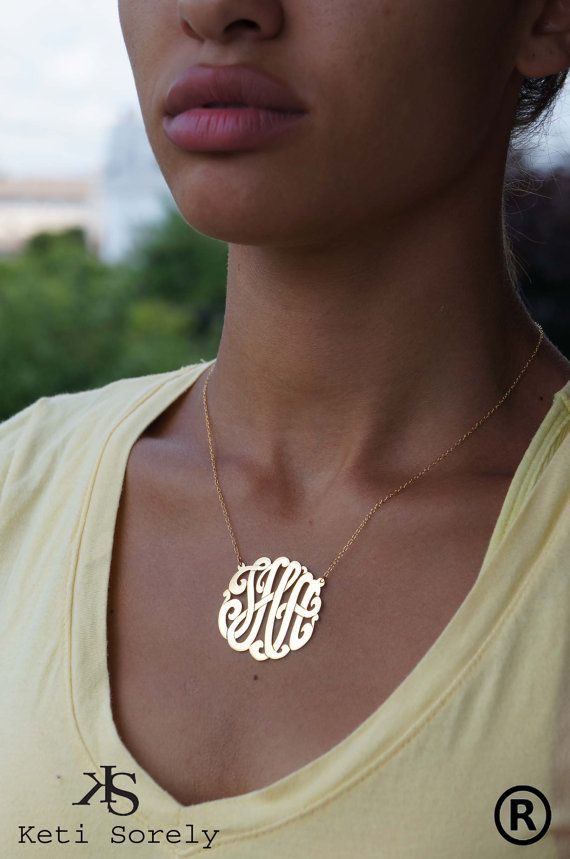 Monogram Necklace Personalized Initials by KetiSorelyDesigns