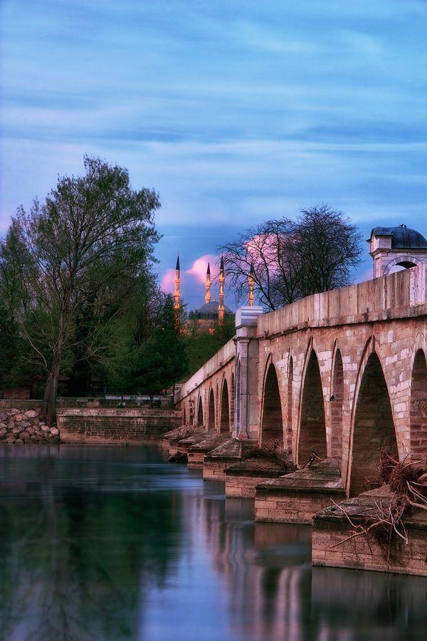 Sunset in Meric River-Bridge Selimiye Mosque, Edirne, Turkey