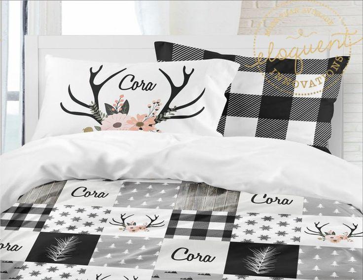 Woodland Bedding Black And White Buffalo Plaid Duvet Cover