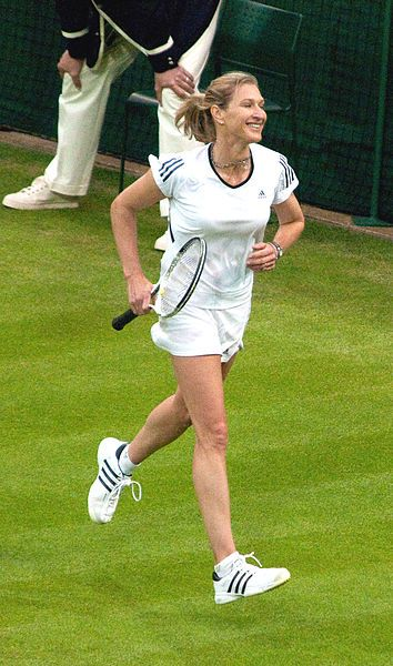 Steffi Graf plays an exho at Wimbledon.