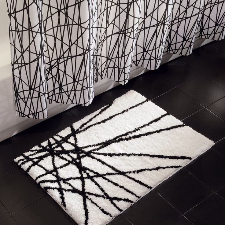 Best Bathroom Shower Curtains And Accessories Images On - Black and white striped bathroom rug for bathroom decorating ideas