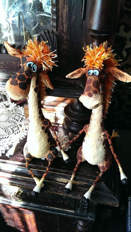Игрушки животные, ручной работы. Ярмарка Мастеров - ручная работа. Купить Жирафики. Handmade. Рыжий, авторская ручная работа