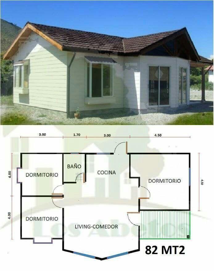 57 best casas de pino images on Pinterest Small houses, Cottage - plan maison plain pied 80m2