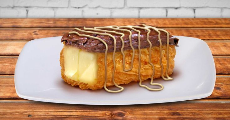 Breaded, Deep Fried, Chocolate-Covered Butter Stick with Sweet Lard Drizzle