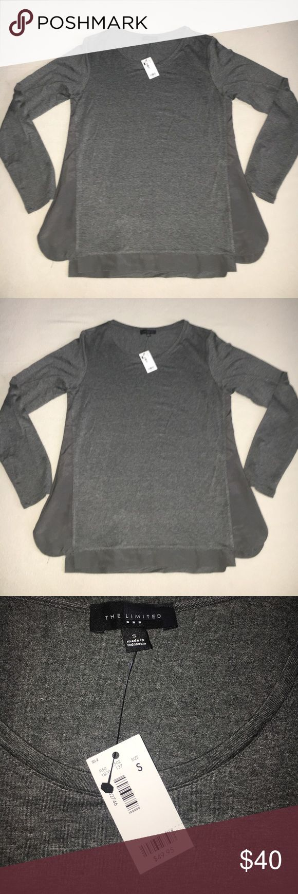 Limited Grey Long Sleeve Top Limited Grey long sleeve top - Spandex/Rayon with Poleyster detailing to sides and bottom The Limited Tops Blouses