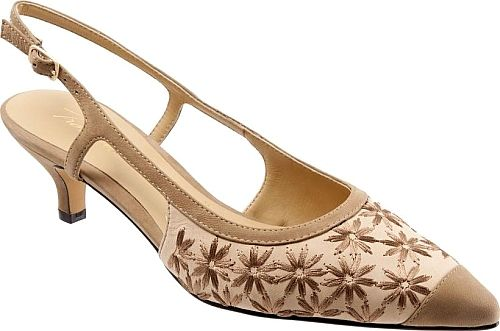 Trotters Women's Shoes in Dark Tan Color. Hand-finished mini-weave detailing adds interesting texture to a pointy-toe pump set on a modest kitten heel and finished with a breezy slingback strap.