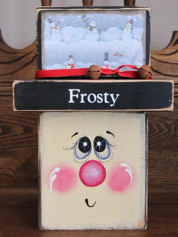 Block Head Snowman by PunkinSeedProduction on Etsy. $18.00 USD, via Etsy.