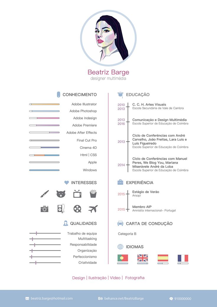 Flat Resume With Infographics Ai Illustrator Download. 4 Colors