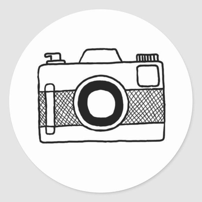 Black And White Camera Doodle Sticker Zazzle Com In 2021 Camera Doodle Black And White Stickers White Camera