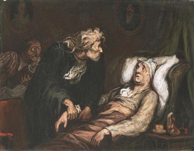 """El hipocondríaco (""""Le malade imaginaire""""). Honoré Daumier. 1850. Localización: Barnes Foundation (Filadelfia). https://painthealth.wordpress.com/2016/01/25/el-enfermo-imaginario/"""