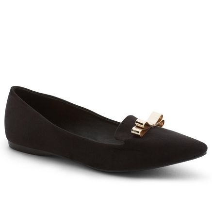 Pointy toe slipper with gold bow detail!