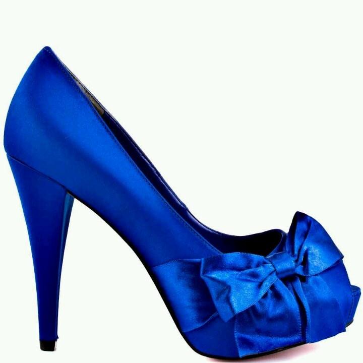 Royal blue bow heels.  529ddb4588