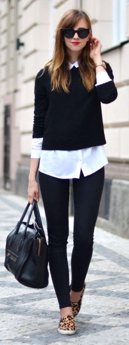 White shirt, black sweater, black skinnies, animal print flats, black leather handbag