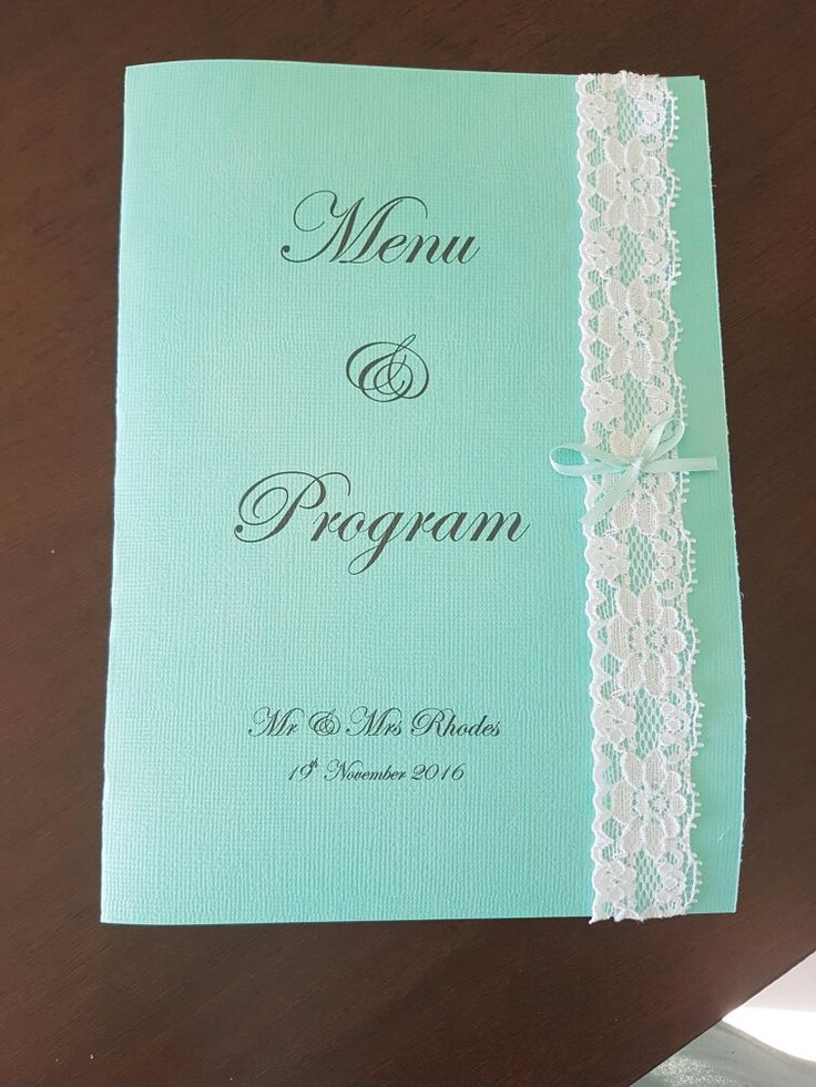 Our table menu and programs  Hand made  Matches our invites and theme  Love the look of lace on the green paper