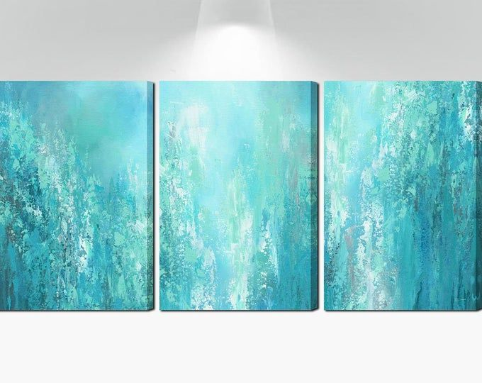 3 Piece Wall Art Canvas Abstract Multi Panel Teal Wall Art Etsy Teal Wall Art Etsy Wall Art 3 Piece Painting