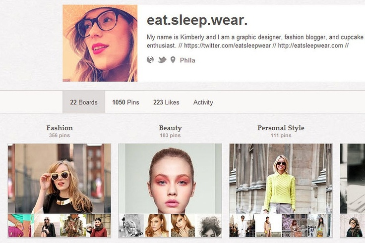 EAT SLEEP WEAR http://pinterest.com/eatsleepwear/   Kimberly Pesch from Eat Sleep Wear looks at the web through rose-tinted glasses, pinning images of elaborate cupcake designs and pom pom anklets as she goes.