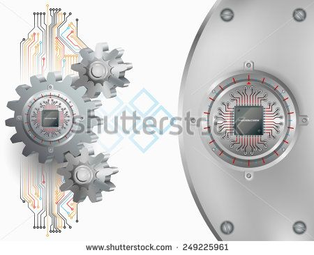Abstract technology background;Processor Chip attached to circular metallic device with gradations nailed to cogwheels and steel board with screws.